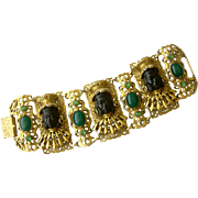 Massive Selro Asian Blackamoor 'Queen' Bracelet with Faux Jade Cabochons