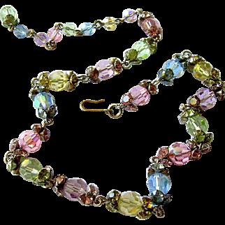 Effervescent Rainbow-Hued Austrian Crystal Necklace