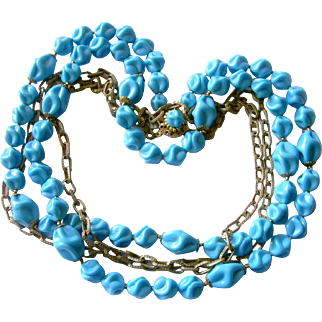 Haskell Vibrant Cerulean Blue Fluted Glass Bead & Chains Rope Necklace