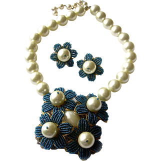 One-of-a-Kind 'Miriam Haskell' Tribute Demi with Large Pearls, Teal Seed Beads: Jai Johnson
