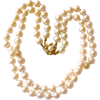 Haskell Classic Hand-Knotted Faux Pearl Necklace with Flower Clasp