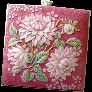 Exquisite Rosy Floral Bouquet Brooch-Pendant, Toshikane (Arita Ware Porcelain) Japan