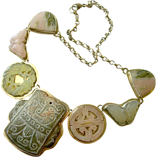 Sterling, Jade & Quartz Necklace with Butterfly & Bird Motifs, One-of-a-Kind Wendi Metzer