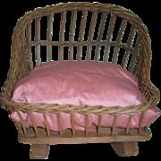 Antique Wicker Doll Cradle