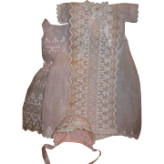 Pink organdy christening outfit