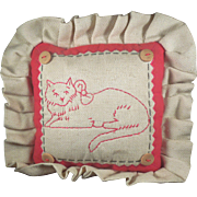 Vintage small primitive embroidered Kitty Kat Cushion