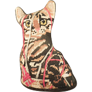 Needlepoint Tabby or Calico Cat Cushion or Doorstop