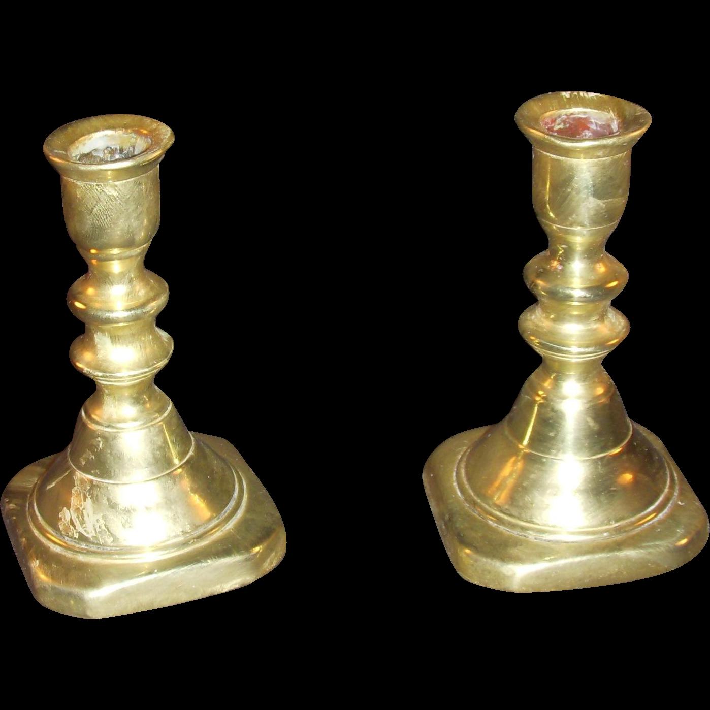 Brass Candlesticks victorian miniature brass candlesticks from albion-manor on ruby lane