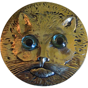 Antique Cat Mirror with Blue Eyes