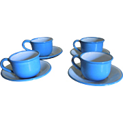 Antique Miniature Graniteware Enamel Dollhouse Kitchen Cups and Saucers