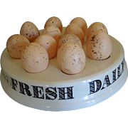 "Vintage English Ironstone Advertising Display Egg Stand or Tray - ""Fresh Daily"""