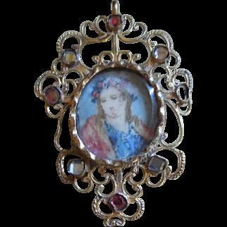Antique Religious Icon Pendant circa 1800 - Continental