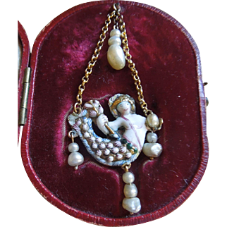 Museum Worthy17th Century Renaissance Jewel Mermaid enamelled in 22ct gold in later fitted case