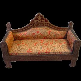 Rare Complete Waltershausen Biedermeier Boule Victorian Dollhouse Parlor Set - Sofa 2 Armchairs 4 Side Chairs