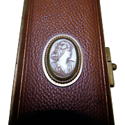 Quality Victorian Gloves Case - Leather and Cameo