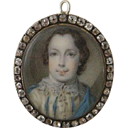 Antique  Georgian Miniature Portrait circa 1770 - Red Tag Sale Item