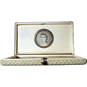 Antique Georgian Mourning Box - Gold Piqué with inset Miniature Portrait circa 1819