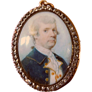Georgian Miniature Portrait of a Naval Officer circa 1770