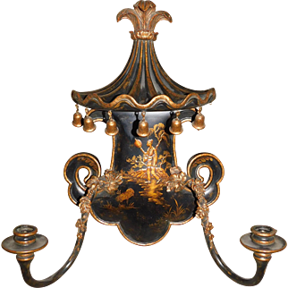 Vintage Chinoiserie Double Sconce - Hollywood Regency