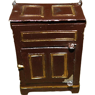 Doll House Tin Ice Chest - Small Scale German 1880s