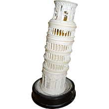 Victorian Grand Tour Alabaster Tower of Pisa Candle Holder or Night Light