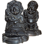STEAL ****Rare Punch Judy Cast Iron Doorstops - Punch wearing Toga****