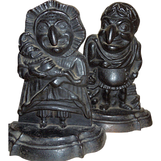 Rare Punch Judy Cast Iron Doorstops - Punch wearing Toga