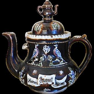 Antique Bargeware Teapot - Measham Pottery