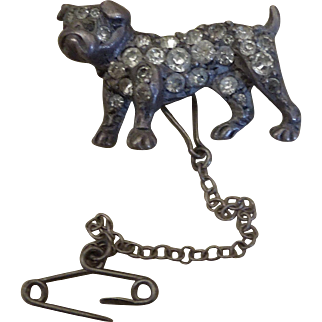 Victorian Sterling Silver Bulldog Brooch inset with paste diamonds
