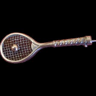 Edwardian Gold Tennis Racket Brooch circa 1910