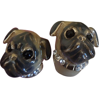 Vintage Pug Clip on Earrings Enamel 24 ct gold plated