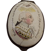 Antique Battersea Patch Box Celebrating George III's recovery from a bout of Madness circa 1789