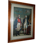 Admiral Nelson and the Duke of Wellington - Only Meeting  Engraving 1840 in Maple Burl Frame