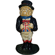 Vintage Hand Painted Cast Iron Bulldog Doorstop