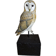 Antique Owl Hand Painted Carving