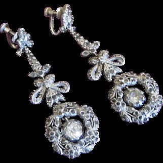 Antique Georgian Revival Paste Drop Earrings - Edwardian