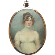 Miniature Portrait of Lady Cecilia Foley by Famed Artist Anne Mee circa 1806 - Red Tag Sale Item