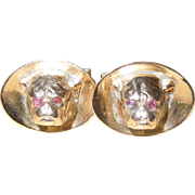 Vintage Gold and Ruby Bulldog Cufflinks