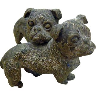 Early Vienna Cold Painted Bronze of Bulldogs