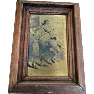 Antique Victorian Engraved Copperplate Portrait - Schoolmaster Spanking Boy