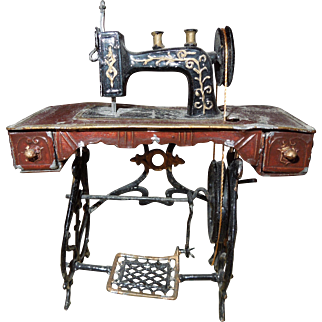 Antique German Dollhouse Sewing Machine - Bing of Nurnburg