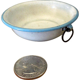 Miniature White Graniteware Enamel Dollhouse Mixing Bowl circa 1875