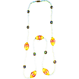 Vintage Deco Venetian Wedding Cake Glass Bead Necklace.