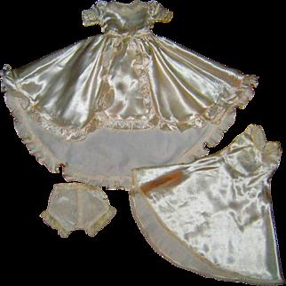 Beautiful doll wedding dress, silk slip, and panties.