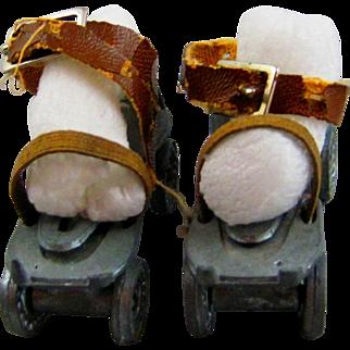 Vintage metal roller skates.