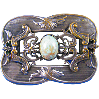 Art Nouveau Sash Pin with Robins Egg Blue Center Glass Cabochon.