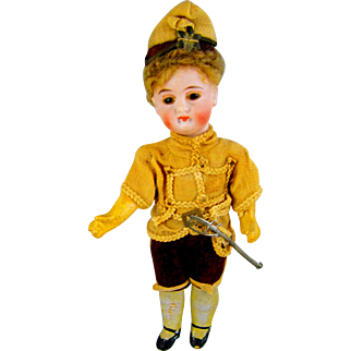"Rare Soldier 6"" Doll Factory Original Bisque Mignonette Signed 15a."