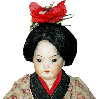 "9"" Oriental 4900 Child Doll by Schoenhau & Hoffmeister - All Original Antique doll"