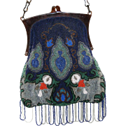 Vintage Beaded Purse - Blue with White dots.