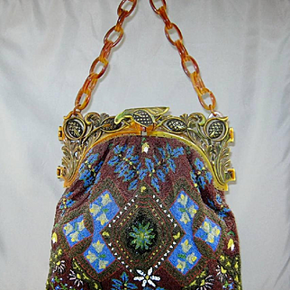 Large Vintage Oriental Style beaded handbag with plastic handle and chain.